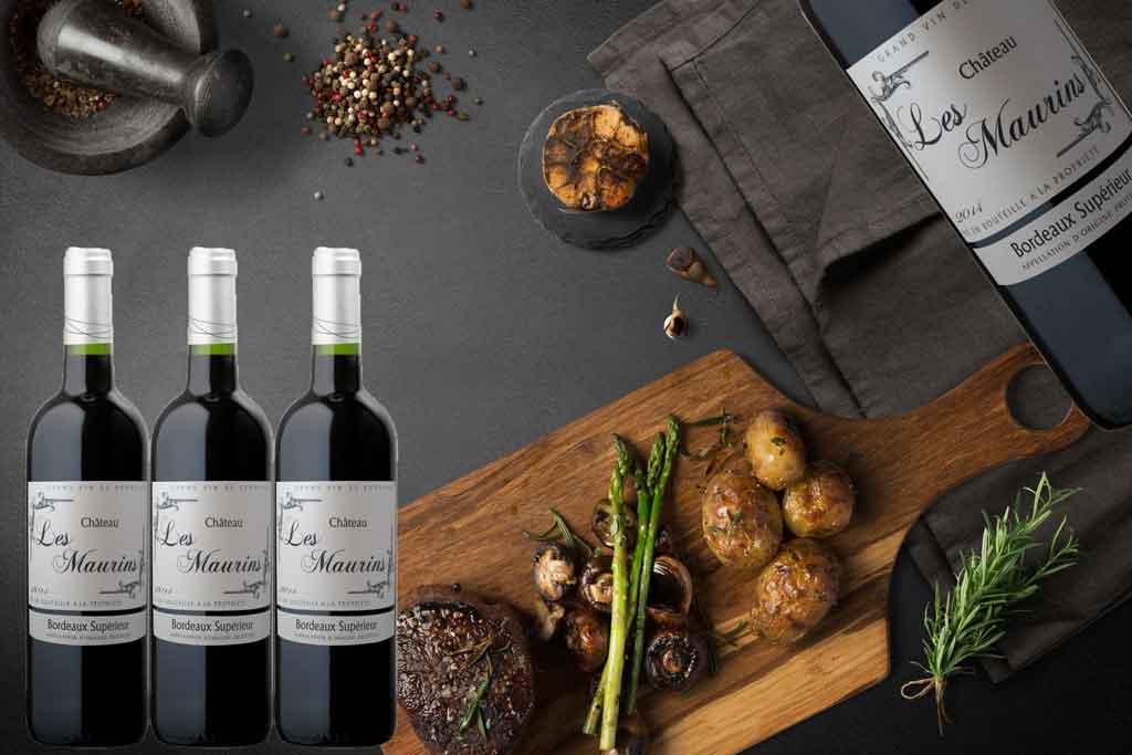 Rượu vang Bordeaux Superieur Chateau Les Maurins và món ăn