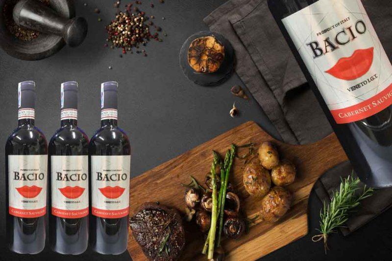 Rượu vang ý giá rẻ Bacio Cabernet Sauvignon và món ăn ngon