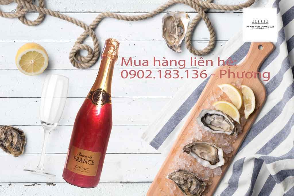 Rượu vang nổ Beau de France và hải sản