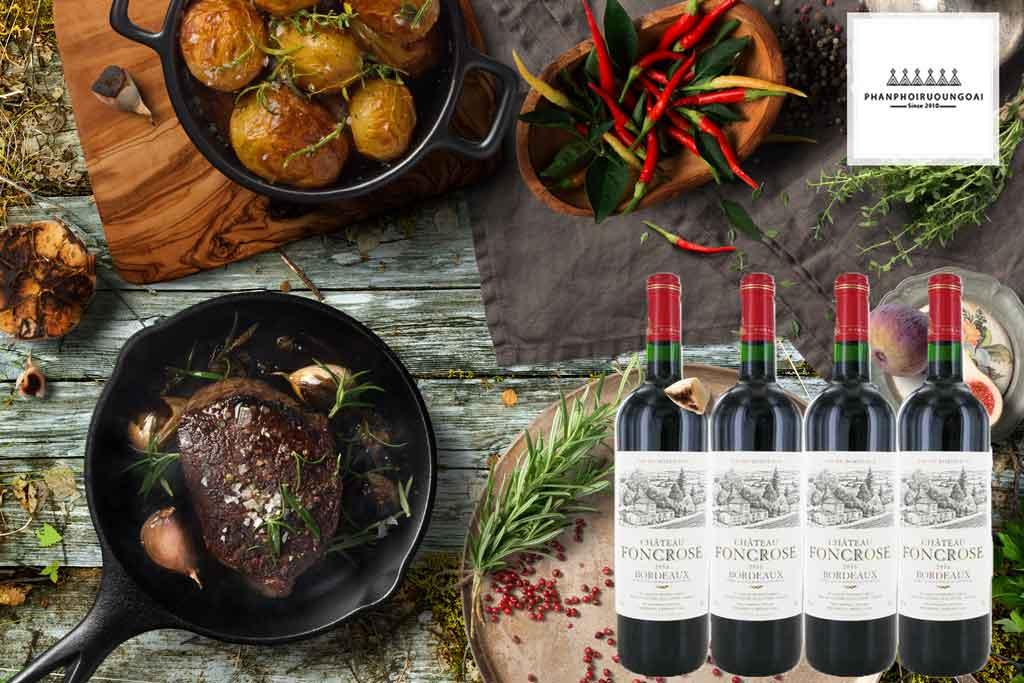 Rượu vang Pháp Chateau Foncrose đến từ Bordeaux và thịt bò