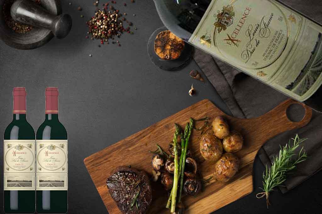 Rượu vang Pháp Excellence đỏ và món ăn