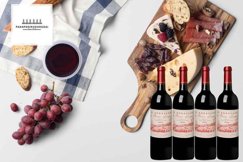 Rượu vang Pháp giá rẻ Bordeuax de Pierre Longue và món ăn
