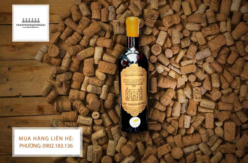 Rượu vang Pháp giá rẻ Celestin và nút chai