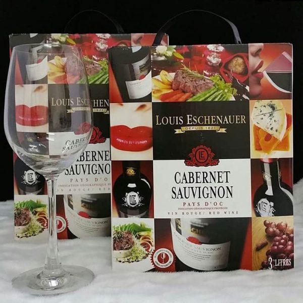 hình ảnh rượu vang bịch Pháp Louis Echenauer Pháp 3 lít và 5 lít