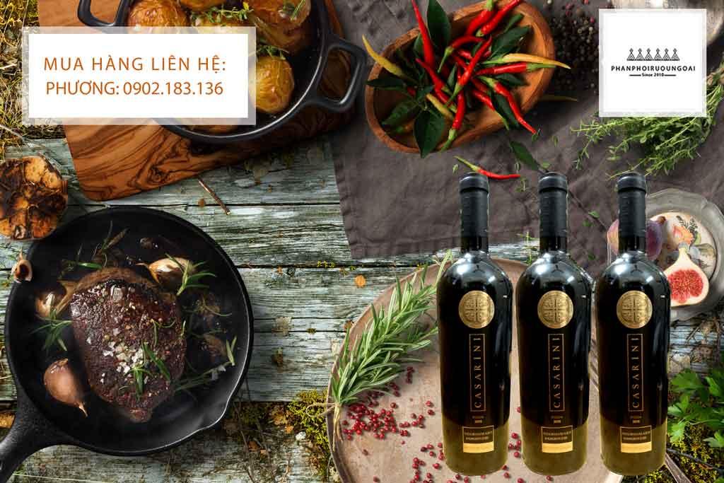 Rượu vang ý giá rẻ Casarini và món ăn ngon